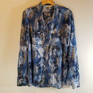 Dressbarn Blue Snakeskin Button Down Blouse XL